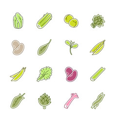 Vegetables icons - lettuce spinach pea and beans vector