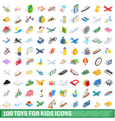 100 toys for kids icons set isometric 3d style vector
