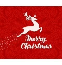 Merry Christmas greeting card Silhouette of vector image