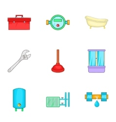 Toilet icons set cartoon style vector