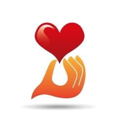 Heart love hand holding graphic vector