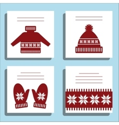 Greeting card winter wool knotted clothes with vector