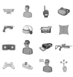 virtual reality icons set monochrome vector image