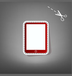 computer tablet sign  red icon with for vector image