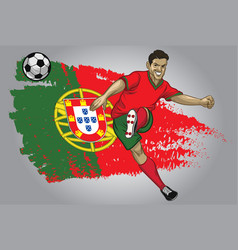 Portugal soccer player with flag as a background vector
