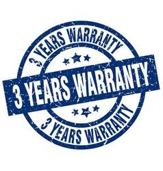 3 years warranty blue round grunge stamp vector