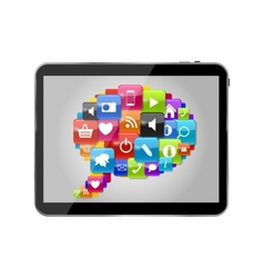 Glass button icon set speech bubble on tablet pc vector