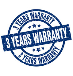 3 years warranty blue round grunge stamp vector