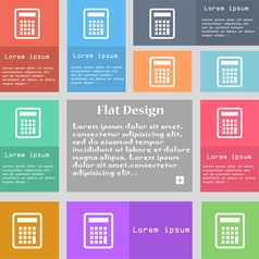 Calculator icon sign set of multicolored buttons vector