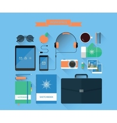 Modern workspace and equipment vector