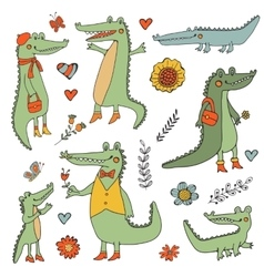 Stunning hand drawn crocodiles set vector image
