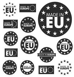 Made in european union labels badges and stickers vector