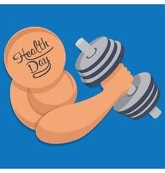 Dumbbell in hand health day vector