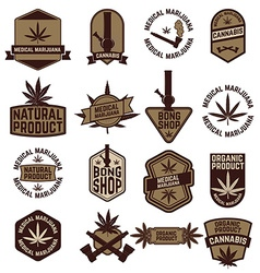set of Marijuana labels vector image