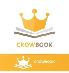 Book and crown logo concept vector