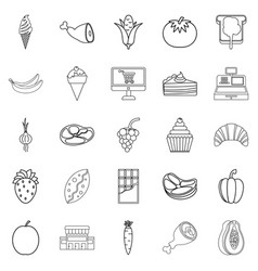 bakery in the grocery icons set outline style vector image vector image