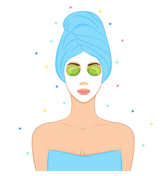 beautiful woman with facial mask home spa concept vector image