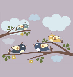 Birds sitting on tree branches sunny day vector