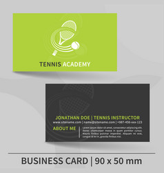 Business card template for tennis instructor vector