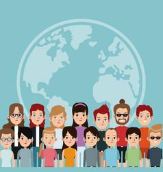 Cartoon community world people society vector