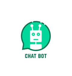 Chat bot logo like green speech bubble vector