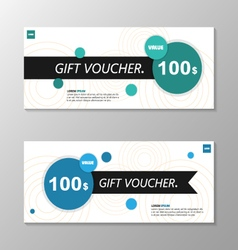 Circle blue green gift voucher template layout set vector image vector image