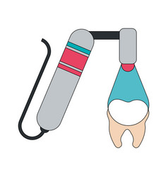 color image cartoon drilling dental machine with vector image vector image
