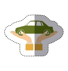 Colorful sticker of hands holding a car vector