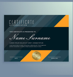 Dark certificate of appreciation template design vector