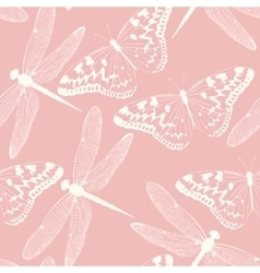 Dragonflies and butterflies seamless background vector