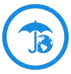 Earth umbrella rounded icon rubber stamp vector