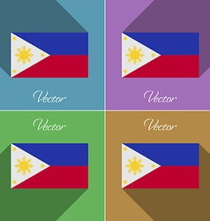 Flags philippiines set of colors flat design and vector