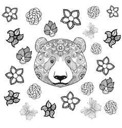Flower panda coloring page vector