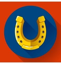 Golden horseshoe icon flat design style vector