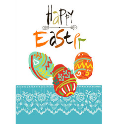 Happy easter greeting card or display vector
