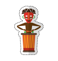Native african playing the drum vector