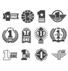 number one logos set vector image vector image