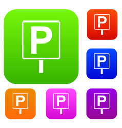 Parking sign set collection vector