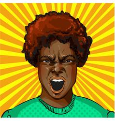 Pop art screaming aggressive african vector