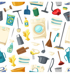 seamless pattern of home cleaning washing vector image vector image