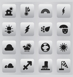set of 16 editable weather icons includes symbols vector image vector image