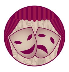 Theater- two tragicomic masks and red curtain vector