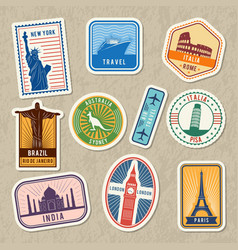travel stickers set with different worldwide vector image vector image