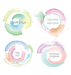 Watercolor style splashes and frames set vector image
