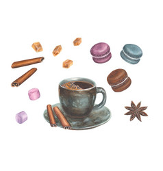 watercolor with coffee set vector image vector image