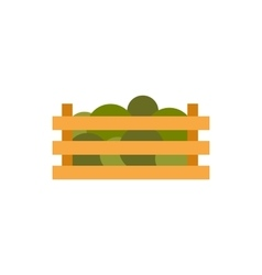 Wooden crate with vegetables icon flat style vector image