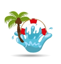 life buoy water splash palm summer vacation vector image