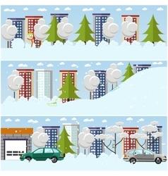 Set of winter cityscape concept design vector