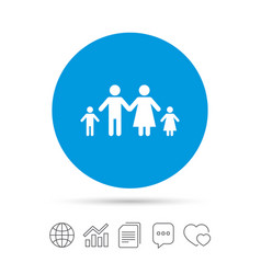 complete family with two children sign icon vector image