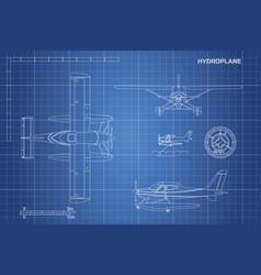 engineering blueprint of plane hydroplane vector image